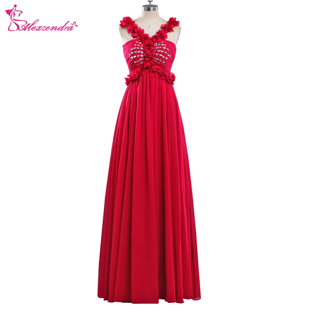 Alexzendra Chiffon Red Long A Line   Prom     Dresses   with Straps V Neck Unique Design Flowers Long Party   Dress