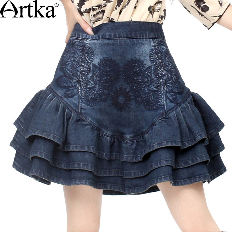 ARTKA Women s Summer Slim Fit Cut Frilled Delicate Floral Embroidery Bud shaped Denim Short Skirt