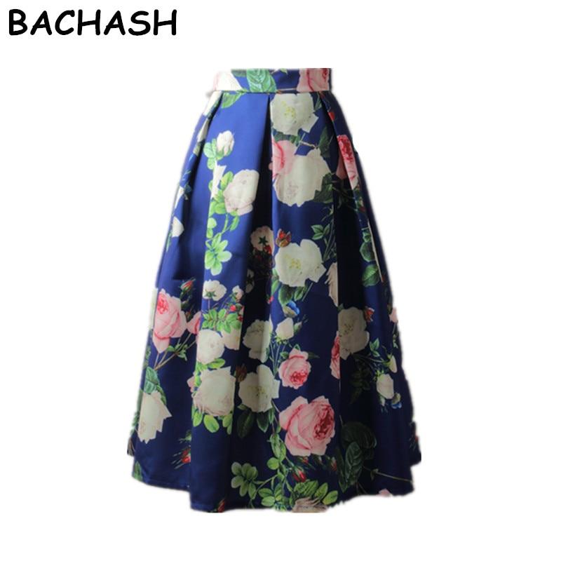 BACHASH Painting Skirts New 2018 Spring Summer Autumn Vintage Printed Ball  Gown Flared Tutu Casual High Waist Ladies Long Saia 88de459c10eb