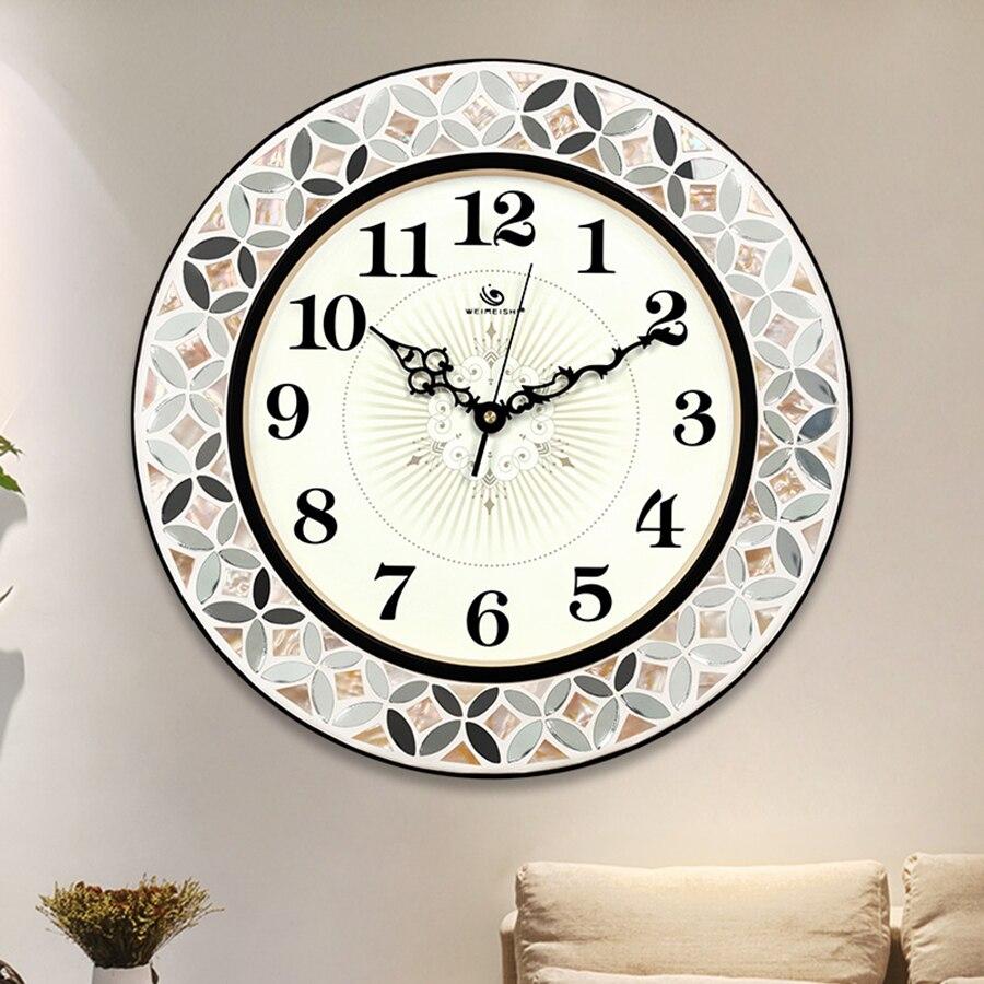 Oclock Large Decorative Mirror Wall Clocks Home Decor Vintage European Luxury Clock Modern Large Wall Clock for Living Room