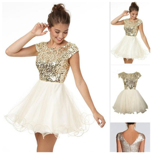 50fe8443e € 79.73 |Deslumbrante V Back Cap manga vestidos fiesta con lentejuelas  blusa falda de tul corto Champagne Prom vestidos cóctel en venta en  Vestidos ...