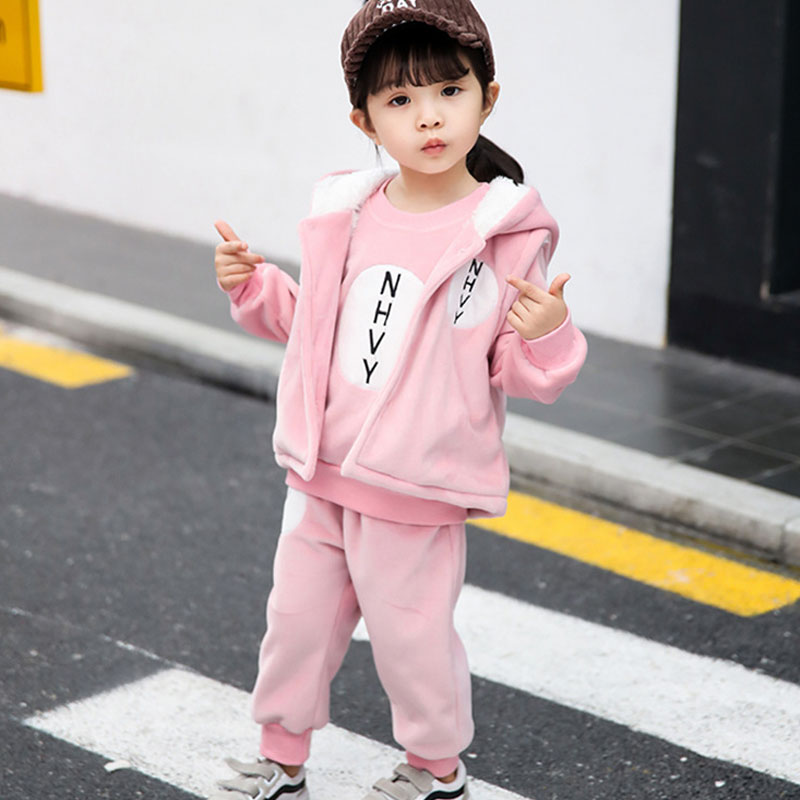 Pink Suit 3 Pieces Cute Princess Vest Children's Suit Arctic Velvet Long Sleeve Tops+Vest+Pants Baby Girls Clothing
