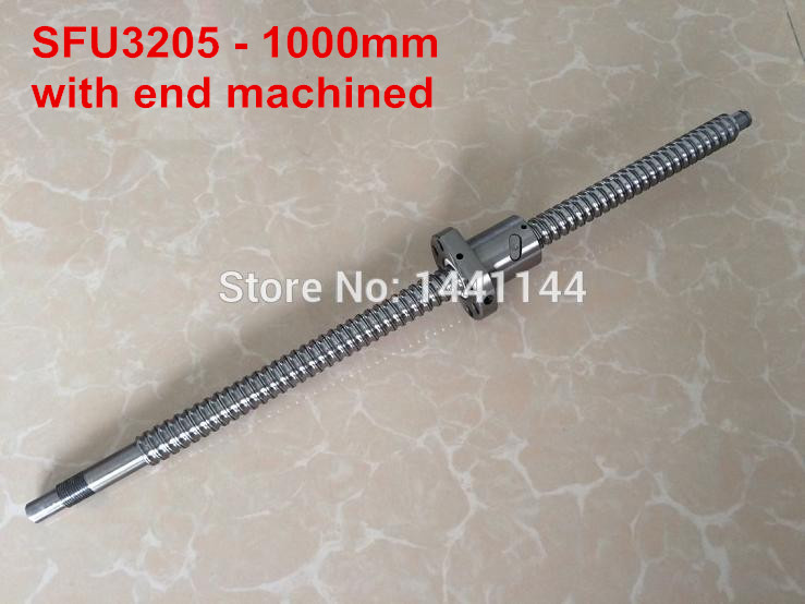SFU3205- 1000mm ballscrew with ball nut with BK25/BF25 end machined ballscrew 3205 l700mm with sfu3205 ballnut with end machining and bk25 bf25 support
