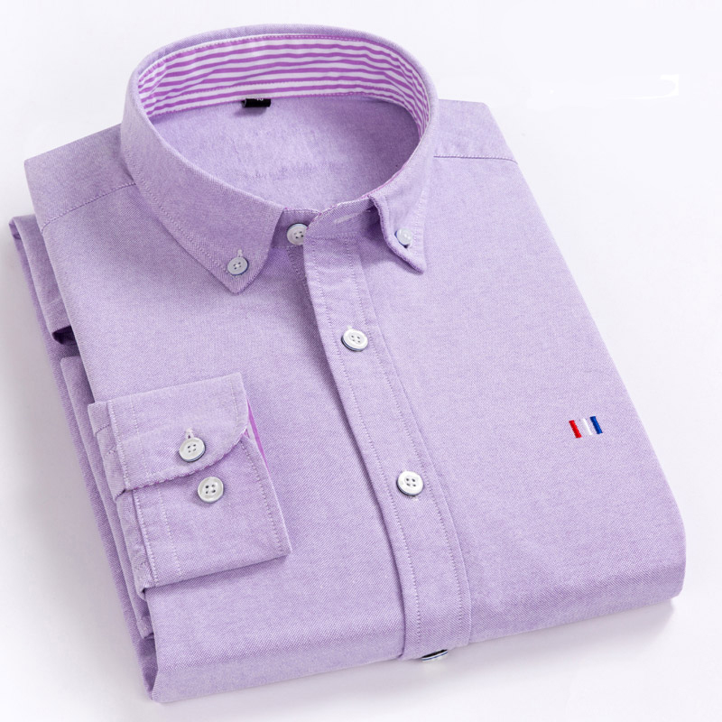 Aoliwen men 100%cotton Purple oxford brand long sleeve casual shirt Spring and autumn Tops embroidery Flannel size S-5XL