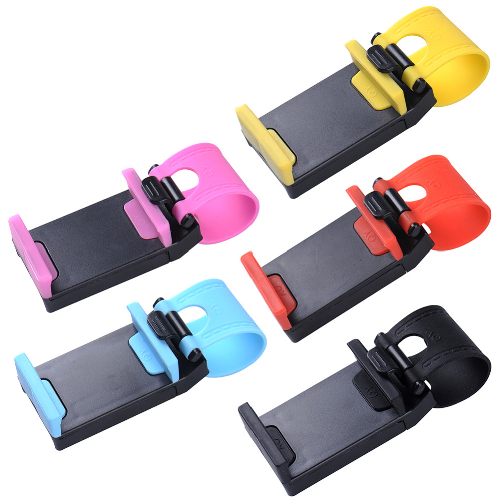 Universal Car Phone Holder Steering Wheel Holder Bike Clip Mount Mobile Phone Stand for iPhone 5s 6s plus Samsung Xiaomi GPS