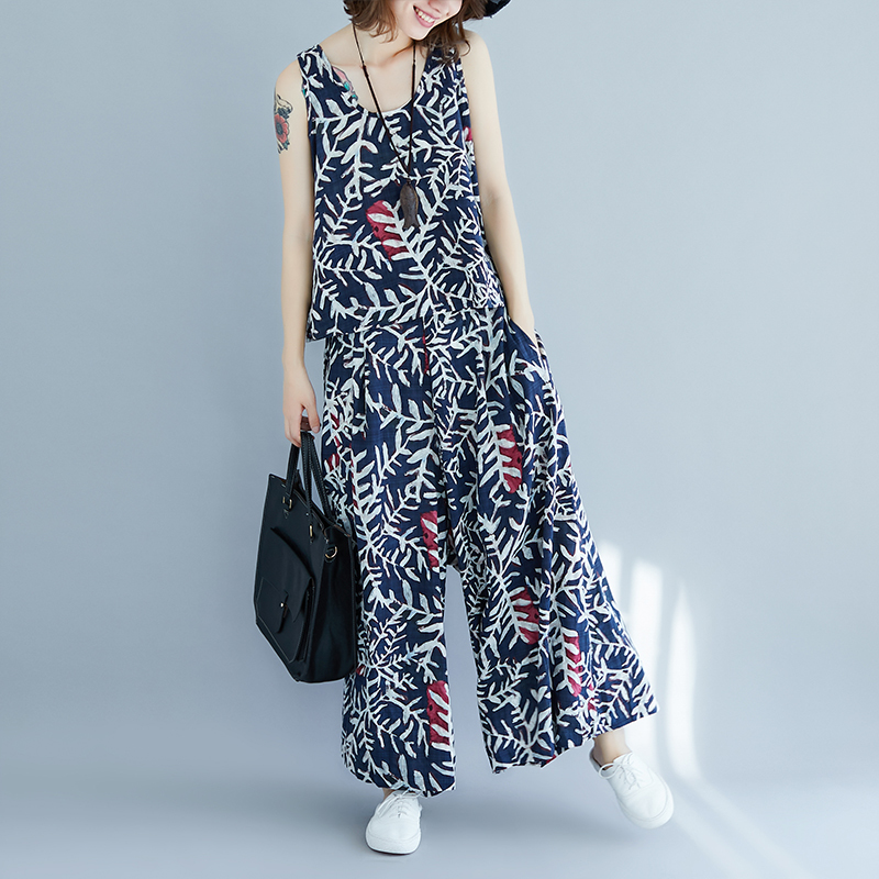 0826 Floral Printed Sleeveless Tank Top And Wide Leg Pants Women Two Pieces Sets Summer 2 Piece Outfits For Women Top And Pants in Women 39 s Sets from Women 39 s Clothing