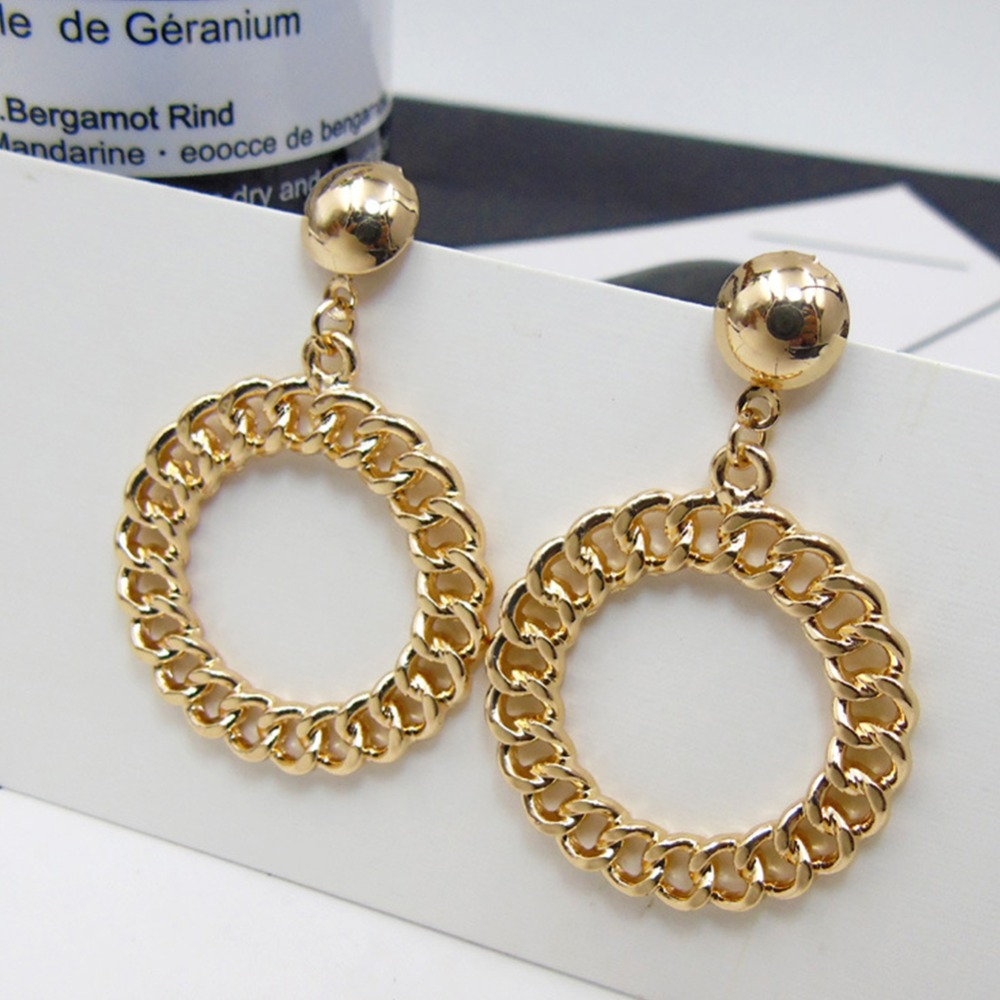 DANGLY CHAIN//HOOP GOLD PLATED CLIP ON EARRINGS