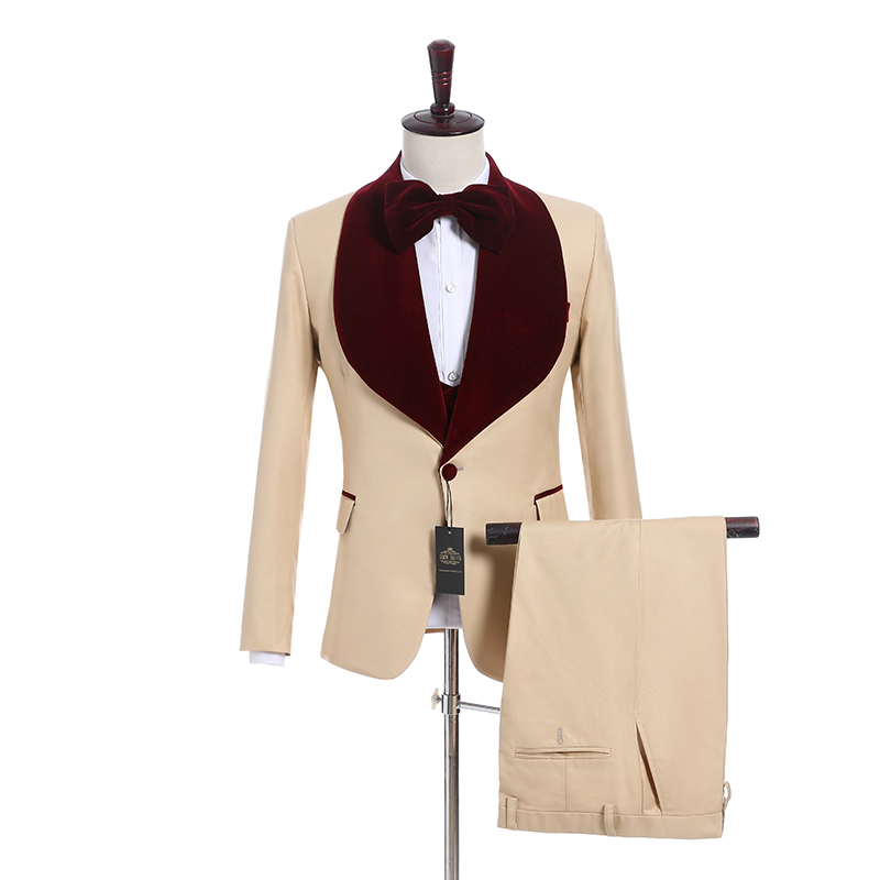 New Arrival One Button Groomsmen Shawl Lapel Groom Tuxedos Men Suits Wedding/Prom Best Man Blazer ( Jacket+Pants+Vest+Tie) A11