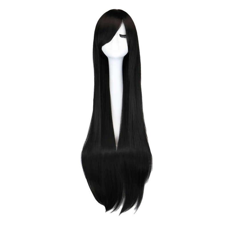 › Peruca longa reta para cosplay, peruca preta roxa preta vermelha rosa azul marrom escuro de 100 cm de cabelo sintético