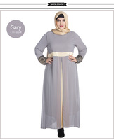 New Design Hot Sale Plain Chiffon Lace Spring Summer Dress Fashion Muslim Maxi Size Abayas Casual Dresses For Women Girls