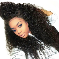 250 Density Lace Front Human Hair Wigs For Women Full Curly Lace Front Wig Pre Plucked Brazilian Wig Black SunnyQueen Remy