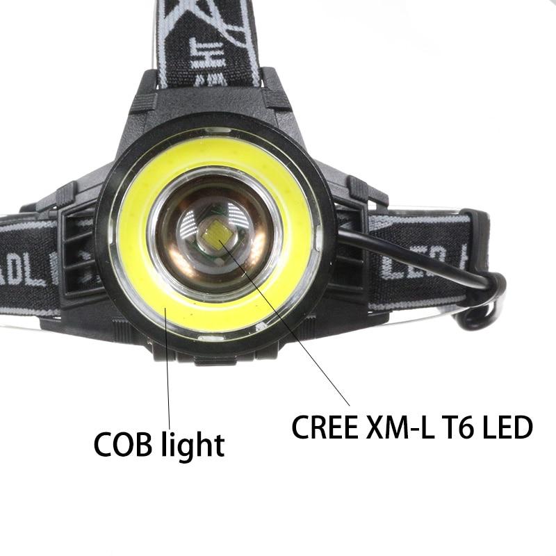 Faróis de Led t6 + cob led caça Material : Aluminum Alloy