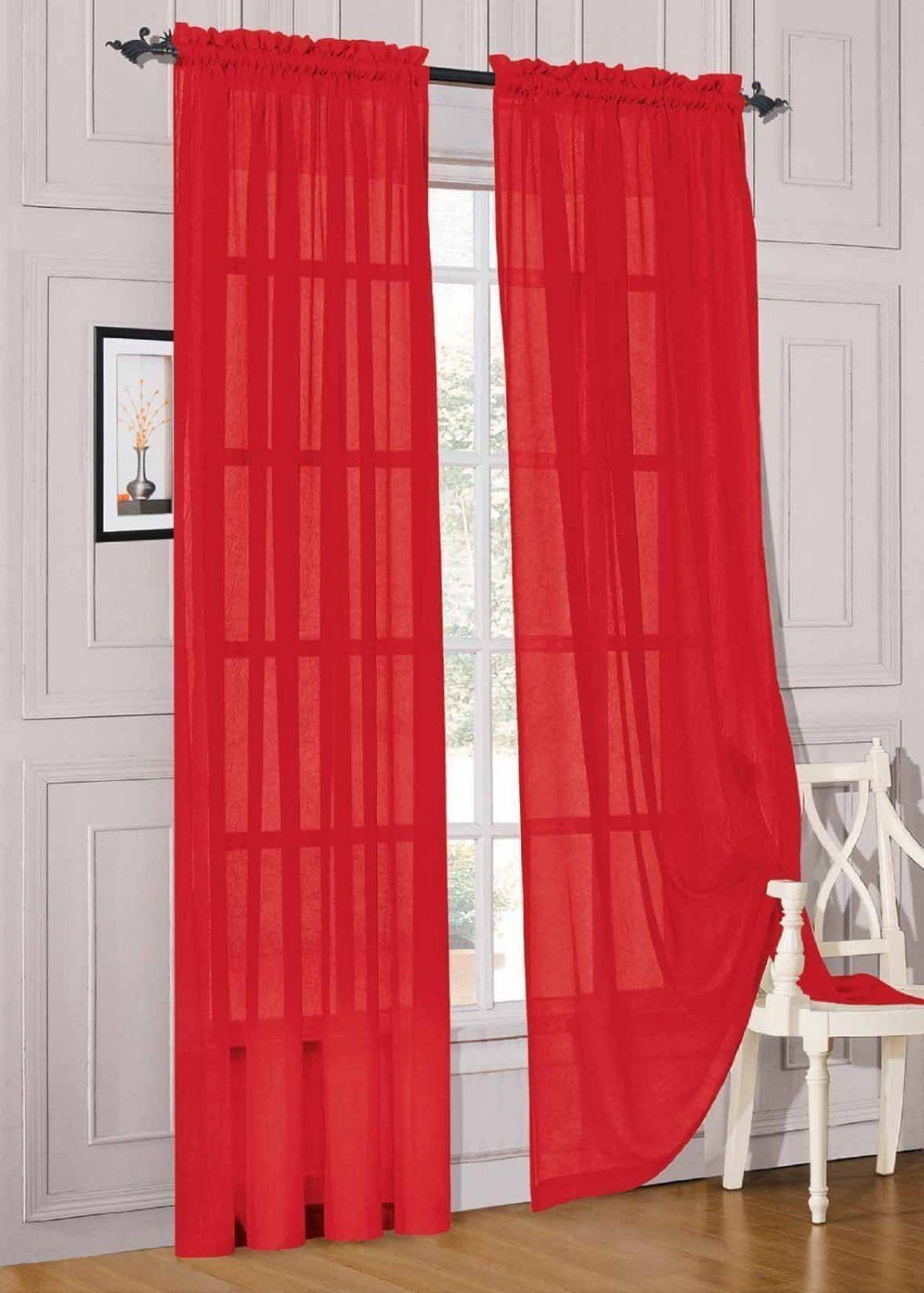 Sheer red window curtains -