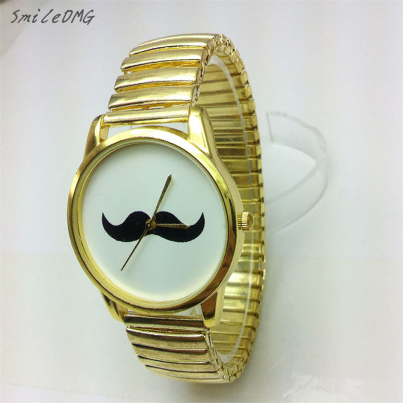SmileOMG Mens Watches British style Fashion Metal strap Mustache Beard Cuff Wristwatch Watch Free Shiping Christmas