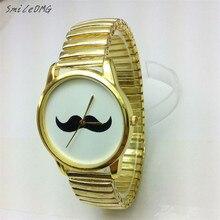 SmileOMG Mens Watches British style Fashion Metal strap Mustache Beard Cuff Wristwatch Watch Free Shiping Christmas