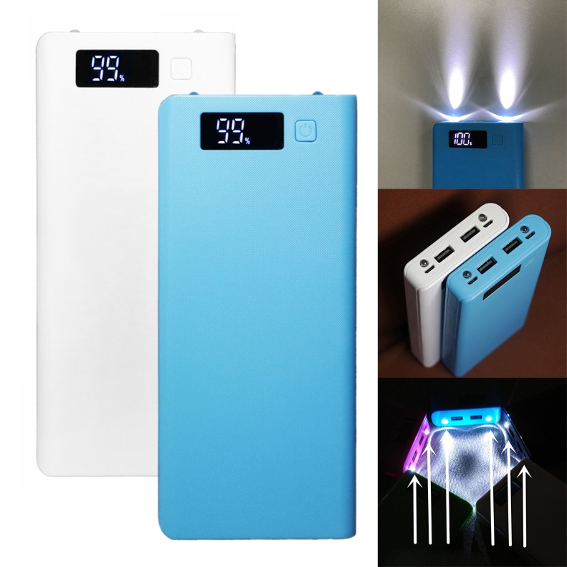 OOTDTY 5V Dual USB 8x 18650 Power Bank Battery Box Mobile Phone Charger DIY Shell Case universal convenient 5v usb adapter power bank w torch light indicator white 2 x 18650