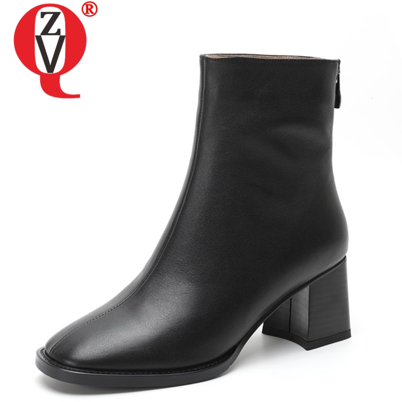 ZVQ newest popular women ankle boots square toe high hoof heels genuine leather zip black and