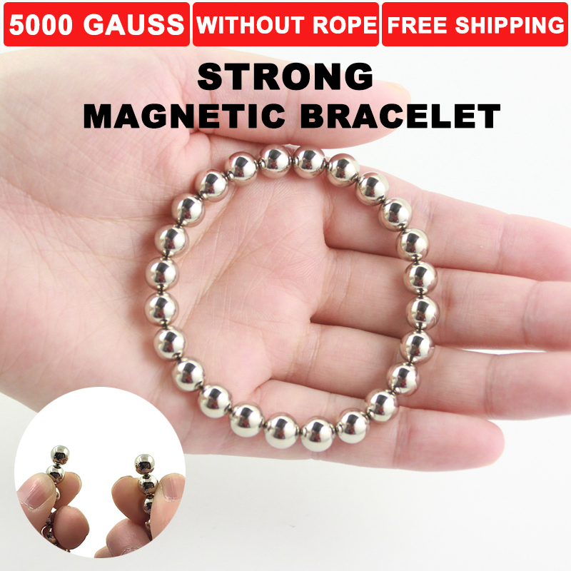 black round adjustable neodymium super magnetic therapy perpetual earth energy stone bracelet bangle for man weight loss MB1002