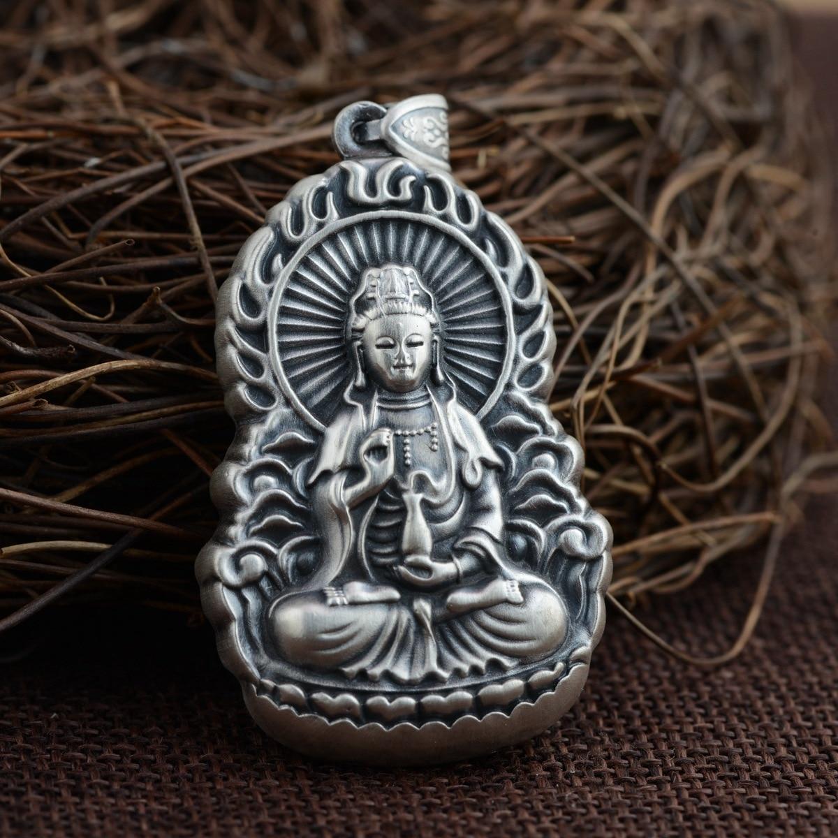Cerf roi bijoux en gros 999 pendentif en argent fin Matt Avalokiteshvara pendentif nouvelle technologie
