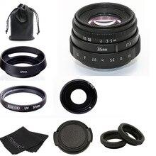 Nouveau pour fujian 35mm f1.6 C monture caméra CCTV objectif II + sac + 37mm uv + capot pour Sony NEX e mount caméra et adaptateur bundle noir