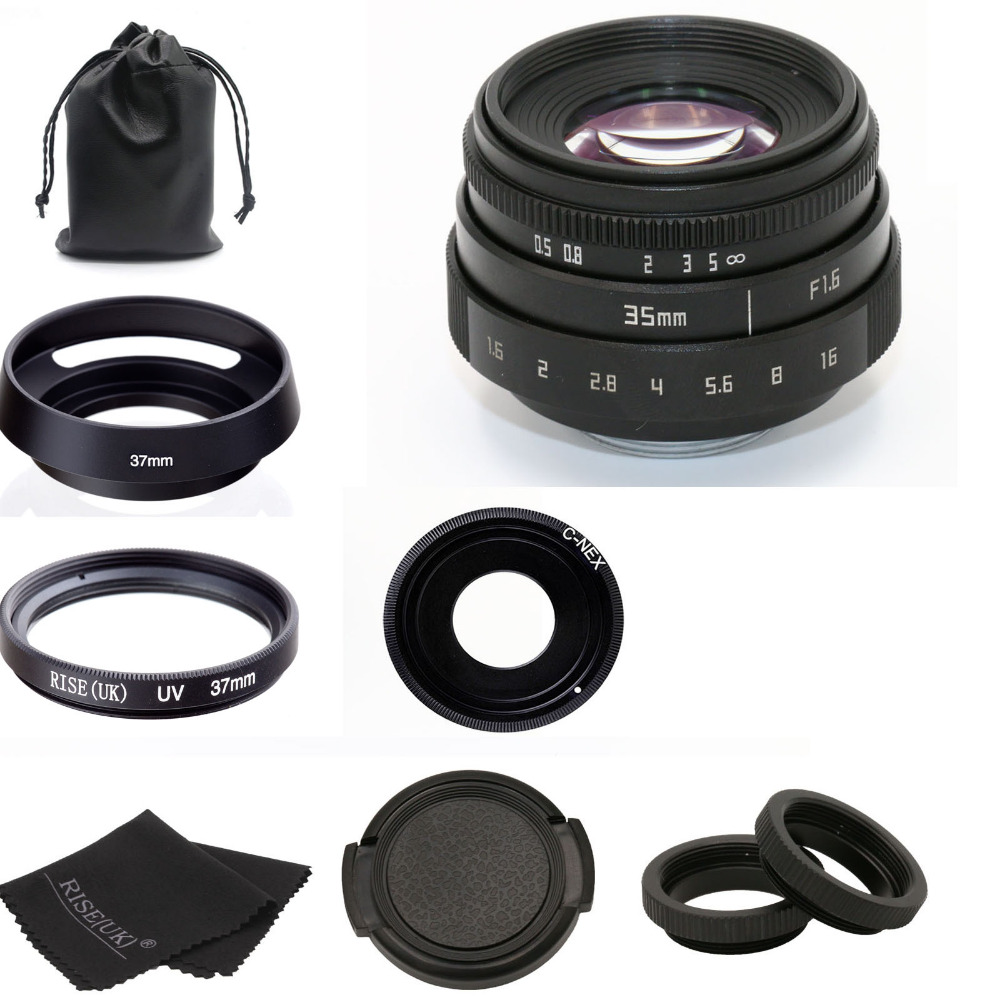 new for fujian 35mm f1.6 C mount camera CCTV Lens II +bag +37mm uv+hood for Sony NEX E-mount camera & Adapter bundle black adidas superstar original mens