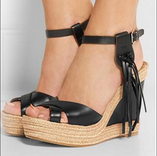 e0b307738 new fashion women designer platform lace up sandals super high wedges heels  open toe ankle strap women party tassel shoes black -in Women's Sandals  from ...