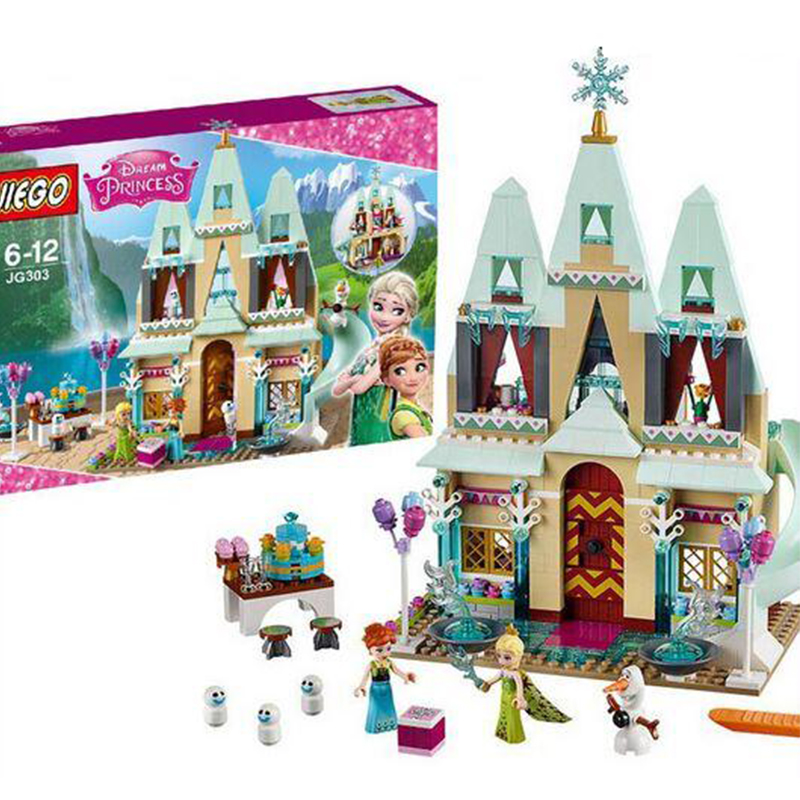 JG303 SY371 Snow Queen Princess Anna Elsa Building Blocks Arendelle Castle Celebration Compatible With Legoed 41068 Friend jg303 building blocks arendelle castle princess anna elsa buildable snow queen figures sy371 with blocks kids toys gift page 8