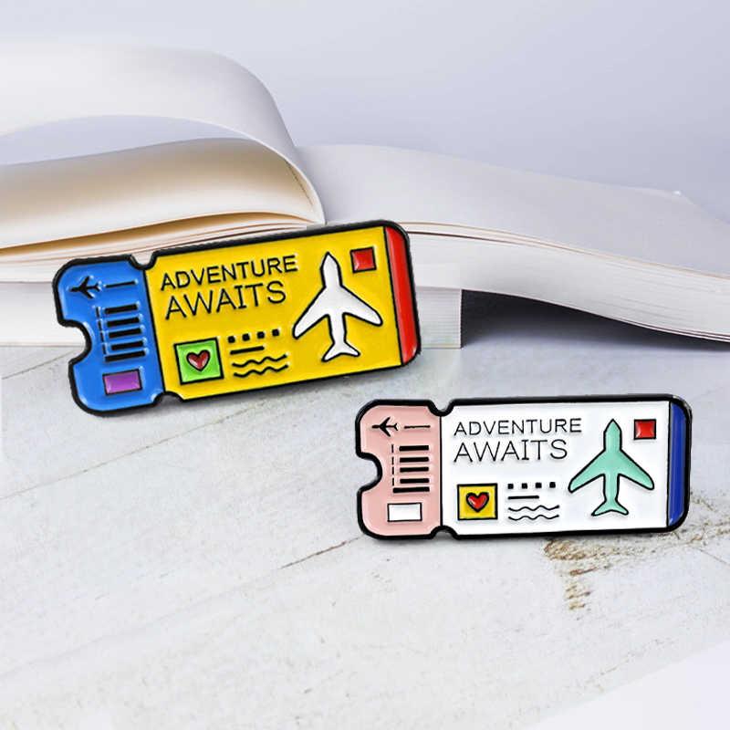 Kartun Tiket Bros Petualangan Menanti Biru Pink Tiket Pins Lencana Enamel Pin untuk Anak-anak Explorer Tiket Perhiasan Aksesori
