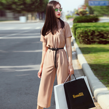 Women's New Fashion Spring Summer Autumn High Waist Loose Slim Capri Pants Jumpsuits OL Style Calf-Length Pants Jumpsuits