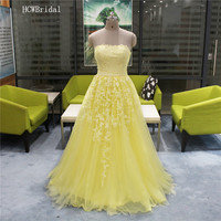 Graceful Lace Tulle Yellow Evening Dress Strapless A Line Pearls Floor Length Long Specail Occasion Dresses Custom Made 2019 New
