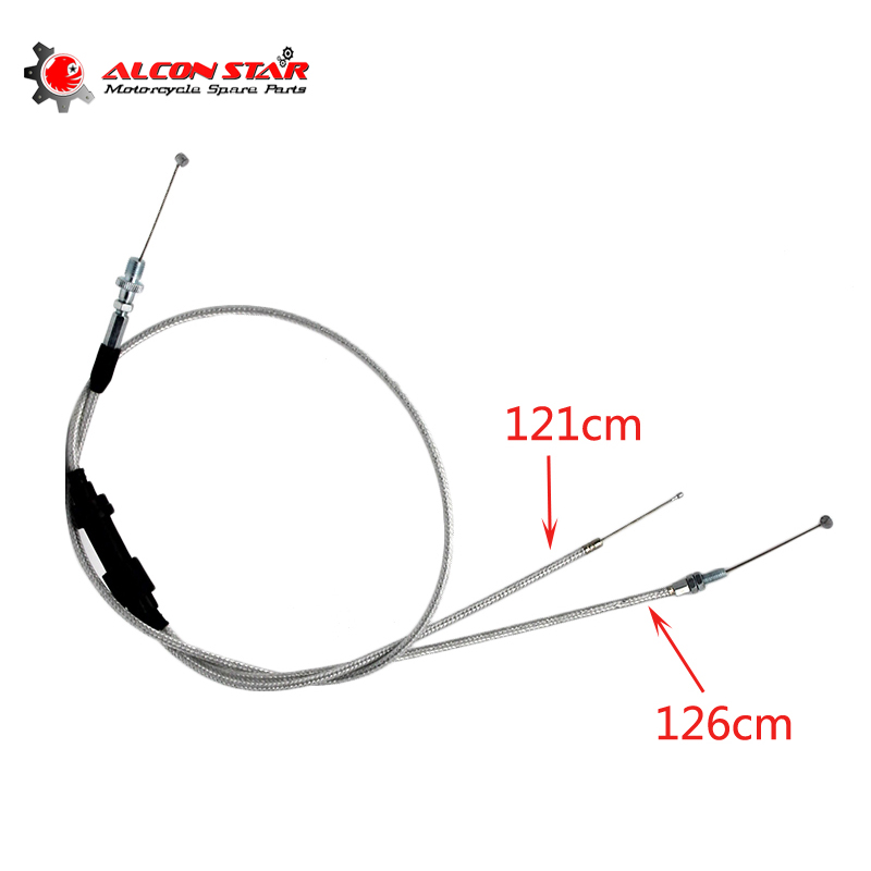 Alconstar-Dirt Bike Dual Throttle Cable Double Automatic Carburetor Throttle Grip Cable Line Accelerate Pump Carburetor брюки accelerate tight