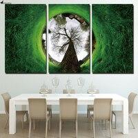 HD отпечатано 3 шт. холсте зеленая трава пейзаж дом абстрактная Живопись настенная живопись с рамкой комплект Бесплатная доставка ny-6550