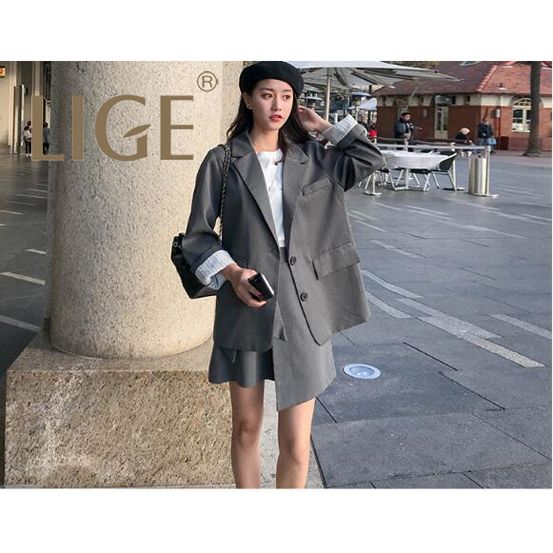 LIGE Work Fashion skirt Suits 2 Piece Set for Women Blazer Jacket & skirt Office Lady Suit 2019