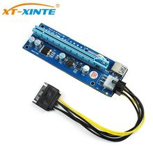 Pci Express Riser Card 1x To 16x 6Pin GPU Usb 3.0 Extender X1 X16 Adapter Card PCIE SATA 6Pin Power Cable For Miner BTC Mining usb3 0 pci e pci express 1x to 16x riser card adapter mining dedicated graphics card extension cable with sata power slot con
