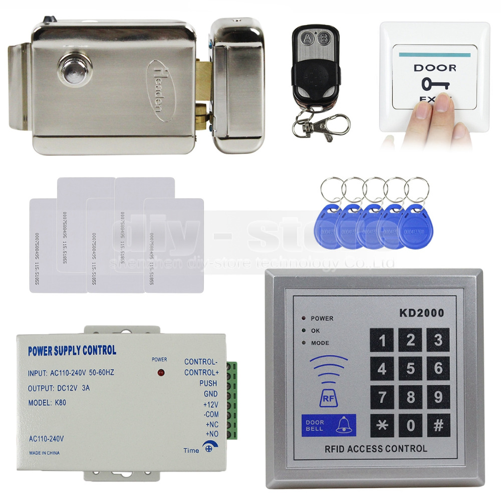 DIYSECUR Full Complete Rfid Card Keypad Door Access Control Kit + Electric Door Lock + Exit Button Brand New KD2000