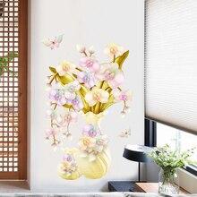 Gold Flower in bottle European style wallpaper Room wall decoration PVC self-adhesive waterproof wallpaper bedroom wall sticker bubble flower tree pvc waterproof wall sticker