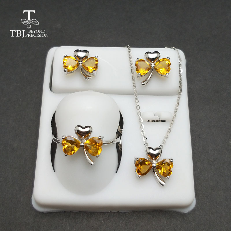TBJ,lovely heart shape jewelry sets with natural citrine gemstone in 925 sterling silver earring for girls as valentines giftTBJ,lovely heart shape jewelry sets with natural citrine gemstone in 925 sterling silver earring for girls as valentines gift