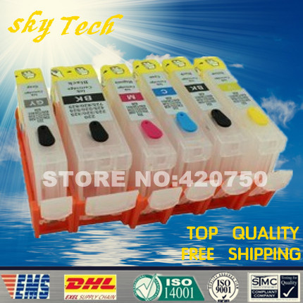 6 warna Cartridge Ink Refillable Untuk PGI525 CLI526, Untuk Canon MG6150 MG6250 MG8150 MG8250 IP4850 IP4950 IX6550, dengan cip ARC