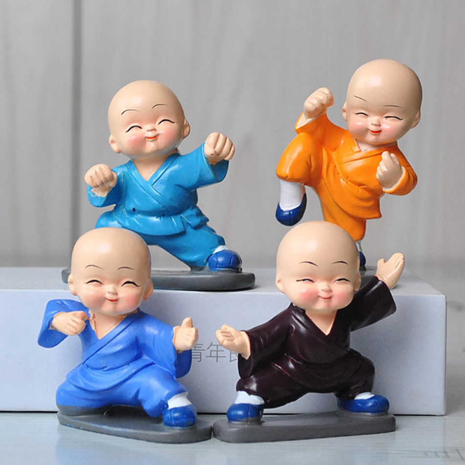 4 pcs/lot  shaolin temple Gongfu Buddhist  Monk Resin Figurine Crafts Home Decorative Ornaments Miniatures Crafts Creative