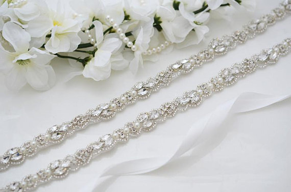 MissRDress Thin Bridal Belt Hand Beaded Crystal Wedding Belt Rhinestones Bridal Belt For Wedding Evening Dresses JK883