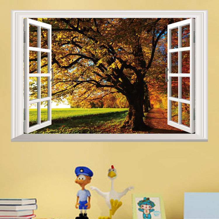 Removable Fall Trees 3D Window View Scenery Wall Sticker Home decor ...