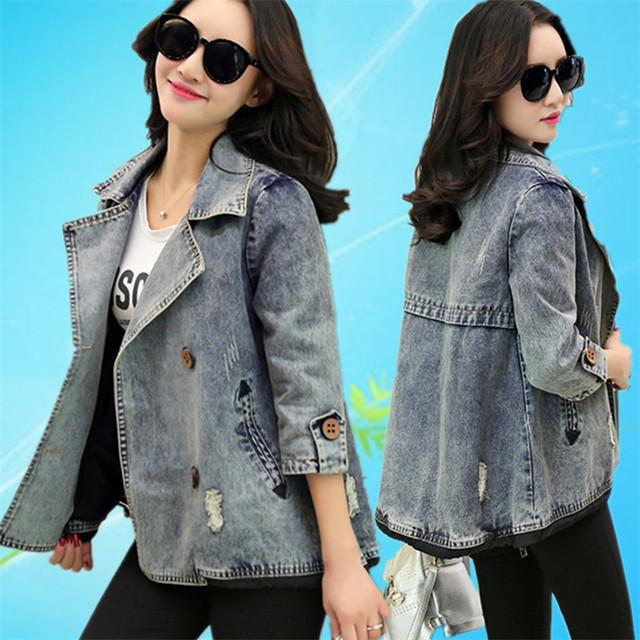 2017 Primavera Outono Jaqueta Jeans Feminino Trespassado Casacos Bombardeiro Básico Das Mulheres Cape Casaco Jeans Jaqueta Plus Size 3XL C2418