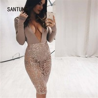 Santune Pink Black Women Bodysuit Overalls See Through Jumpsuits Hot Lady Club Mesh Bodysuits Playsuits Sexy