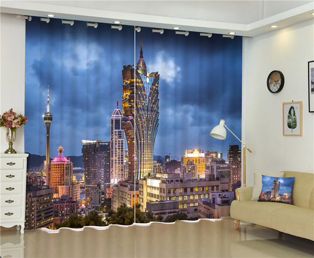 2017 Macao Night View Blackout Window Drapes Luxury 3D Curtains For Living Room Bed Office