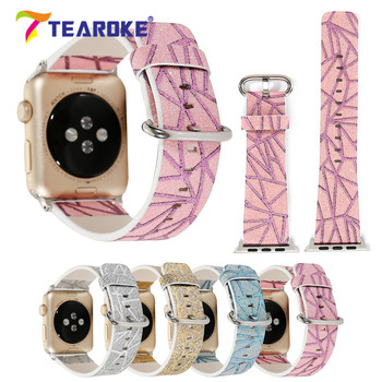 TEAROKE Shining Glitter Powder Leather Watchband For Apple Watch 1 2 3 38mm 42mm Bling Women Replacement Band Strap for iwatch