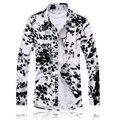 Бесплатная доставка новый 2017 китайский vintage style цветочный печати длинные рукав рубашки мужчин плюс размер 7xl мерсеризированный мужчины платье рубашка/CS23