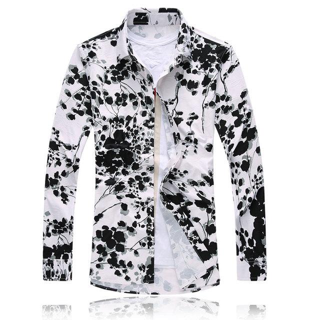 Envío de la nueva 2016 estilo chino de la vendimia impresión floral largo hombres de la camisa más tamaño 7xl mercerizado de manga hombres camisa de vestir/CS23