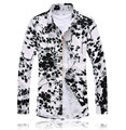 Free shipping new 2016 chinese vintage style floral print long sleeve shirt men plus size 7xl mercerized men dress shirt /CS23