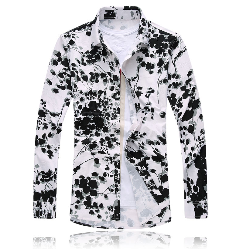 Online Get Cheap Mens Mandarin Collar Floral Print Shirt ...