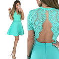 PNDODO Floral Sexy Lace Midi Dress Women Short Sleeve O-neck Lace Top With Slim Fitted Of The Bride Dresses Vestidos De Fiesta